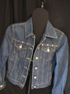 OLD NAVY JEAN JACKET, All Seasons, Blue Jean, embellished shiny rivets, SZ XS JR #OLDNAVY #JeanJacket #Everyday