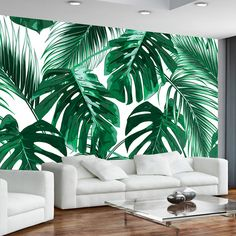 Modern Simple Fresh Rain Forest Plant Mural Wallpaper Living Room Bedroom Backdrop Wall Paper Creative Home Decor Art Wallpapers Plant Wallpaper, Photo Wallpaper, Wallpaper Murals, Mural Painting, Mural Art, Rainforest Plants, Amazon Rainforest, Lounge Sofa, Home Wall Decor