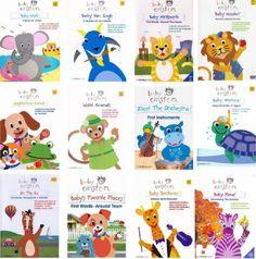 a coleção de DVDS Baby Einstein, produzidos pela Disney. Cada DVD tem um tema (como contar os objetos em números, planetas, animais, estações do ano…) e todos são embasados com músicas clássicas para ajudar no estímulo do aprendizado dos bebês.