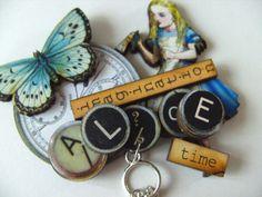 Alice in Wonderland BROOCH whimsical wood blue by NewellsJewels, £8.00
