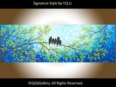 15% OFF - Abstract Painting Original Impasto Painting Palette Knife Painting Tree Birds Painting Love Birds Painting Precious Moment via Etsy