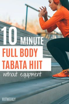 A quick 10-minute home workout plan to lose weight and get fit. This 10 minute Tabata workout uses no equipment so all you need is a bit of space to get started. Hiit Workouts With Weights, Hiit Workouts For Beginners, Full Body Hiit Workout, Hiit Workout At Home, Tabata Workouts, At Home Workouts, Body Weight, Weight Loss, Workout Results