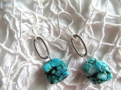 Western styled turquoise colored dyed howlite nugget earrings, sterling silver filled earwires, by Ann Case, WiredWithLoveJewelry, $15