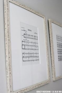 "Nursery Wall Decor Ideas DIY - Print off Sheet Music - Edelweiss ""My dad's favorite song was Edelweiss.  Perry googled ""free printable piano music"" and printed the sheets onto off-white paper. Frames from Home Goods too."""