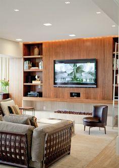 Home theater planejado com lareira ideas for 2019 Living Room Remodel, Home Living Room, Living Room Designs, Living Room Decor, Deco Tv, Luxury Interior, Interior Design, Interior Decorating, Muebles Living