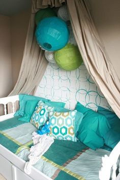 Girls Bedroom remodelaholic.com #stenciled_wall #crown #cornice_canopy blue and
