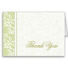 An elegant damask pattern border and a light damask background gives your thank you cards a stylish look and will make   a great impression.