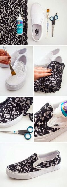 Sneakers lovely ideas...would love to do this with a nautical print