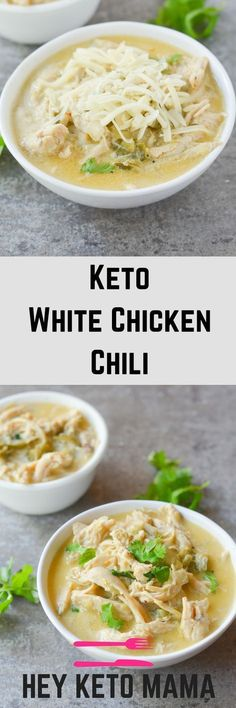 This Keto White Chicken Chili is an amazing comfort food for the changing seasons. It's filling, tasty and can easily be a crockpot/freezer meal! | heyketomama.com via @heyketomama