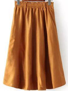 Camel Elastic Waist Pleated Skirt 20.00