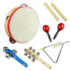 Tera 6Pcs Rhythm Percussion Music Instrument Drum Bells Maracas Triangle Enlighten Toys Kit for Baby Children Kids: Amazon.co.uk: Toys & Games