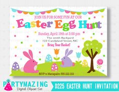 New from Partymazing on Etsy: Easter Egg Hunt printable Invitation Personalized Invitation Easter Egg Hunt  invitation D225 (12.50 USD) For more @partymazing