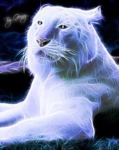 Fractal art White Tiger
