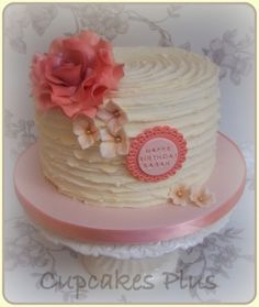 Ridge buttercream cake with large peach rose By Cupcakesplus on CakeCentral.com