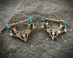 d9ef102752ae60 Set of Golden Elegant Sparkling Opal Ends Filigree Dangle Nipple Shield  Ring Body Jewelry 14ga Surgical Steel