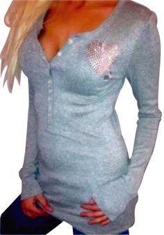 Victoria's Secret PINK Long Sleeve Glitter BLING Heart Henley T Shirt Top RARE S #VictoriasSecret #KnitTop #Casual
