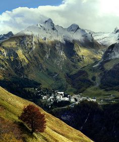Autumn in the valley of Gourette, French Pyrenees.