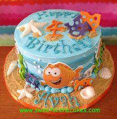 Bubble Guppies Birthday Cake - all edible, characters on edible images, shells are white chocolate, sand is graham crackers  #bubbleguppiescake #bubbleguppies