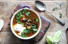 butternut squash and black bean chili with greek yogurt and lime | Dishing Up the Dirt
