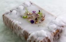 Quique Dacosta Restaurante, Spain. This masterpiece 'The Haze' - A miniature sweet pea forest of almonds, mushrooms, small flowers, black truffle, and edible dirt.