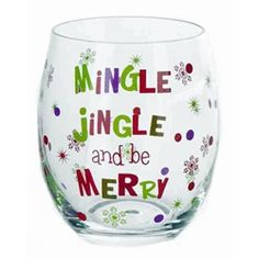 This playful stemless Christmas wine glass is a wonderful reminder to Mingle Jingle and Be Merry. Packaged in a clear acrylic gift box.