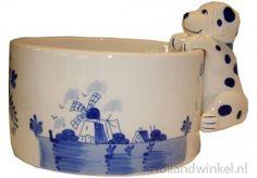 Delfts blauwe keramieke honden voer- of drinkbak