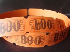 BOO Hand Stamped Halloween Carnival Tickets by vintagebliss, $2.00
