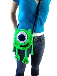 Disney / Pixar's Monster's Inc Mike Wazowski Inspired Crocheted Pouch on Etsy, $35.00