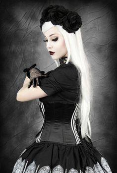 Restyle-Korsett-Odin-Rabe-Streifen-Gothic-Lolita-Corset-Raven-Steelboned-neu-CR4