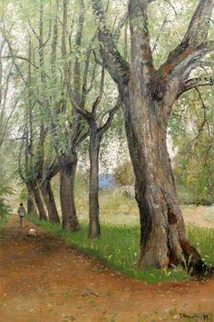 Olof Hermelin (1827-1913): Allé med man och hund, 1899