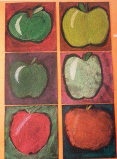 Apple Art Projects, Projects For Kids, Fun Crafts, Arts And Crafts, Elementary Art Rooms, 6th Grade Art, Autumn Art, Halloween Art, Summer Art