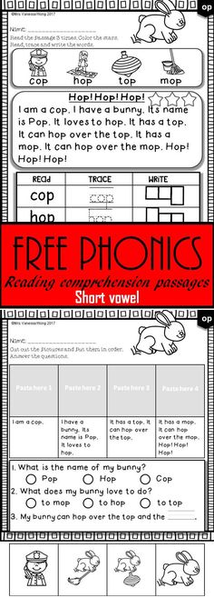 Free phonics passages and activities for vocabulary, fluency and reading comprehension, fluency and story sequence. (Short vowel)