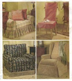 CHAIR COVER Sewing Pattern Loveseat Wingback Club By Patterns4you