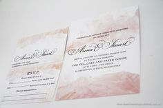 Classic Wedding Invitations | Colour palette | Digitally printed with splashes of paint