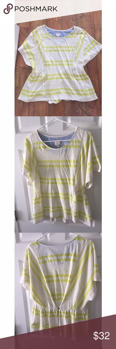 NWOT anthropologie postmark striped peplum top NWOT (still has button bag attached, but no price tag) adorable peplum top by postmark sold at anthropologie. Features flutter style sleeves and citron green stripes. Lovely top! Size large. Anthropologie Tops Blouses