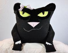 Eisley, the Black Cat, pillow pet by RainieGarden on Etsy