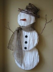 Love This Snowman Idea! Yarn wrapped over the circles. Cute. At first I thought it was waffle paper. Another fun idea.