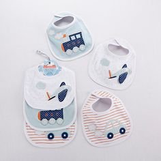 Choo Choo! Beep Beep! Zoom Zoom! Transportation bibs are adorable accessories for a baby on the go!
