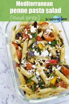 Mediterranean penne pasta salad (meal prep) If you're a fan of easy make ahead lunches, this Mediterranean penne pasta salad is perfect. Packed full of vegetables, it's such a healthy & delicious lunch! Penne Pasta Salads, Healthy Pasta Salad, Easy Pasta Salad, Pasta Lunch, Pasta Dishes, Salad Recipes For Dinner, Healthy Salad Recipes, Healthy Dinner Recipes, Healthy Dinners