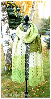 This Green Tea Scarf is fun, fashionable and easy to make… The lacey chevron pattern is created by making X stitches. Using Caron Cake yarn makes all the work effortless and no ends to weave in!!