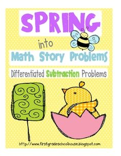 Spring into Math Story Problems Subtraction by First Grade Schoolhouse. $ FIRST GRADE.