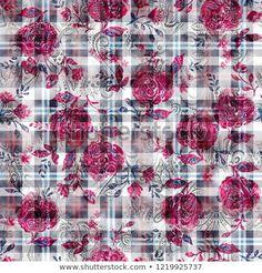 seamless watercolor abstract digital Checks and paisley pattern – Kaufen Sie diese Illustration bei Shutterstock und finden Sie weitere Bilder. Abstract Watercolor, Watercolor Flowers, Watercolour, Paisley, Fabulous Fabrics, Illustration, Free Printable, Digital Prints, My Design