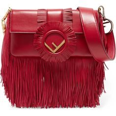 Fendi Baguette fringed leather shoulder bag (4 345 330 LBP) ❤ liked on Polyvore featuring bags, handbags, shoulder bags, red, red handbags, shoulder strap bags, fringe purse, leather purses and red shoulder bag