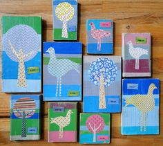 Love the idea of making block art with paint, fabric and mod podge