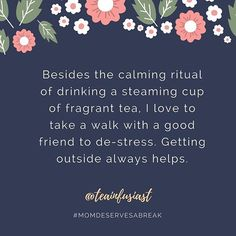 Outdoors, friends, exercise and tea...I think @teainfusiast has a great recipe for de-stressing! And May is such a lovely month for being outside. 🌼🌷🌸😊 . As part of a Mother's Day series, moms from the Insta-space are sharing what they like to do during the few precious moments they have to take a break. . #mothersday #momdeservesabreak #mothersdayseries #motherhoodunplugged #realmoms #momlife #celebratemom #motherhood #teatime #treatyoself #takeabreak #mothersdaygift #mothetsday2017…