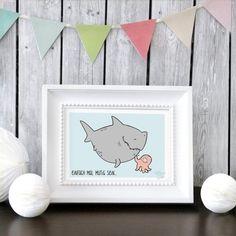 GREENGATE jetzt bestellen bei HIHOLA HOUSE&GARDEN - Katz und Tinte Postkarte Mutig sein mit Hai und Co
