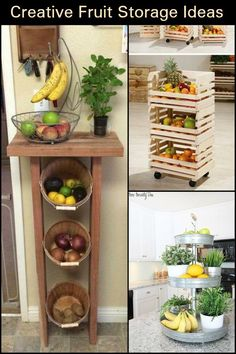 Fruit Storage Ideas Fantastic Storage Ideas to Keep Your Fruits Fresh and Your Kitchen Looking Neat!Fantastic Storage Ideas to Keep Your Fruits Fresh and Your Kitchen Looking Neat! Diy Storage Projects, Storage Ideas, Organization Ideas, Organizing, Storage Solutions, New Kitchen, Kitchen Decor, Kitchen Ideas, Fruit Storage