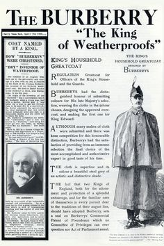 1926: Burberry Greatcoats made regulation for officers from the King's household and the guards.