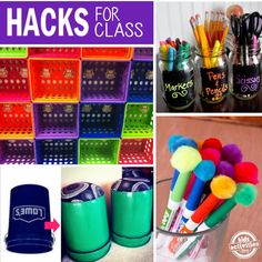 hacks for the class - could be super useful at home for homework organization too! Classroom Hacks, Classroom Organisation, Teacher Organization, Teacher Hacks, Teacher Tools, Classroom Activities, Activities For Kids, Classroom Design, Kindergarten Classroom