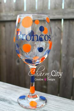 Broncos wine glass other teams also available at www.etsy.com/shop/ahindle78